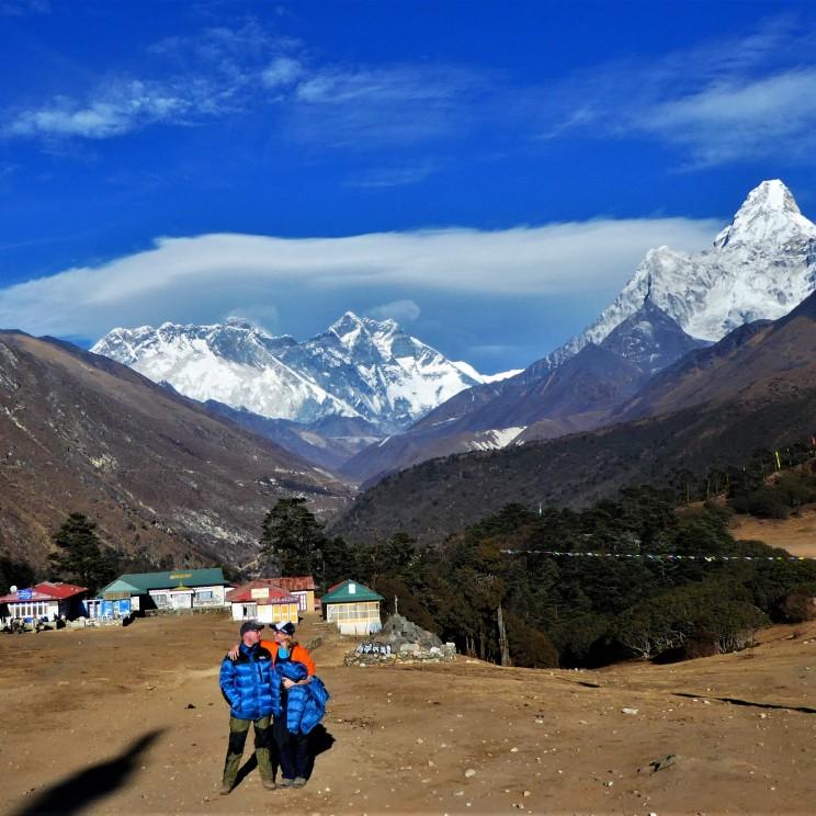 Tyangboche en Mount Everest op de achtergrond.
