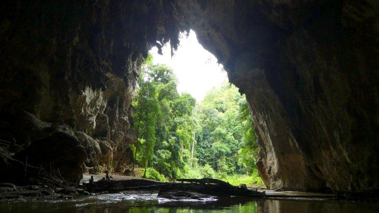 De grot is bedekt met vogelpoep en dat ruik je hier.
